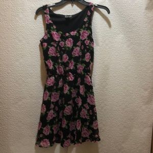 Feathers Black & Flowered Fit & Flare Dress